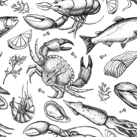 fish drawing: Vector hand drawn seafood pattern. Vintage illustration Illustration