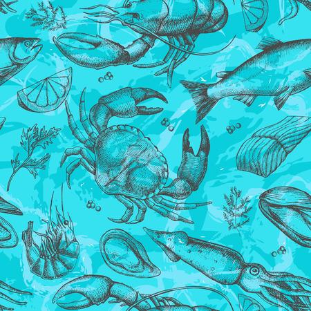 shellfish: Vector hand drawn seafood pattern. Vintage illustration Illustration
