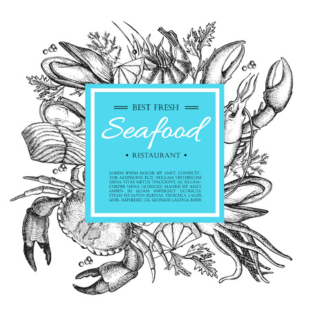 logo poisson: Vecteur restaurant de fruits illustration vintage. Tir� par la main banni�re. Grande pour le menu, banni�re, flyer, carte, des fruits de mer entreprises promouvoir.