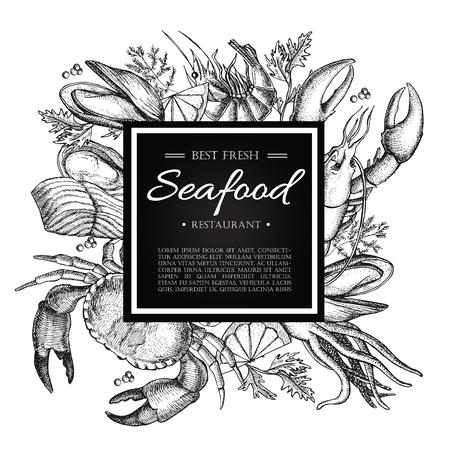 ベクトル ヴィンテージ シーフード レストランのイラスト。手描き下ろしバナー。メニューのバナー、チラシ、カードのために大きい、水産事業を  イラスト・ベクター素材