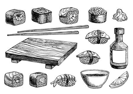 Vector hand getrokken sushi set. Vintage schets illustratie Stock Illustratie