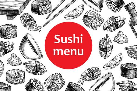 promote: Vector vintage sushi restaurant menu illustration. Hand drawn banner. Great for menu, banner, flyer, card, sushi business promote.
