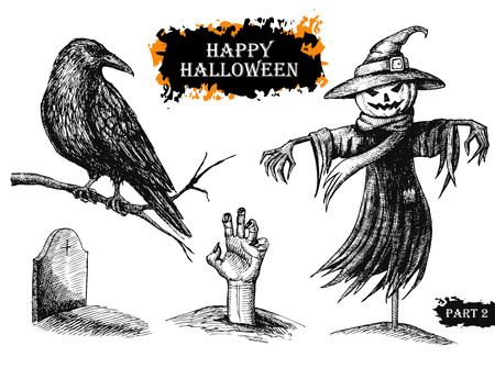 Vector hand drawn Halloween set. Vintage illustration Illustration