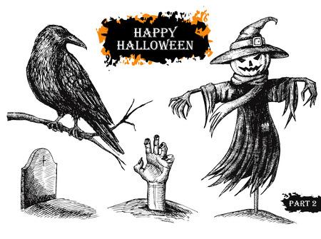 black raven: Vector hand drawn Halloween set. Vintage illustration Illustration