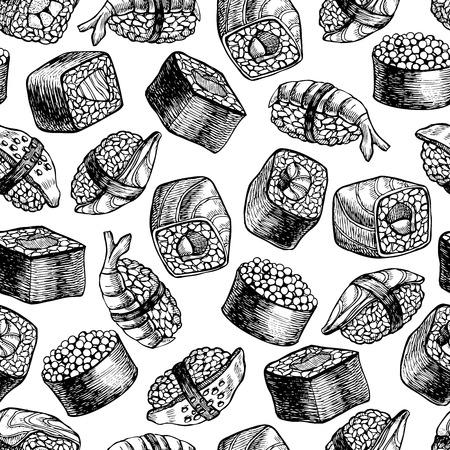 Vector naadloze patroon van sushi. Hand getrokken illustratie