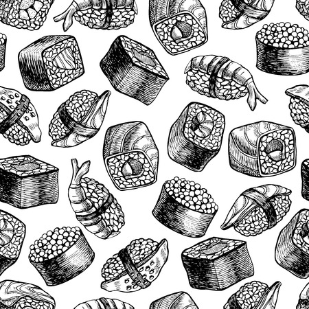 Vector seamless sushi pattern. Hand drawn illustration
