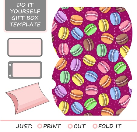 favor: Favor, gift box die cut. Box template with macaron  pattern. Great for birthday or wedding gift packaging.