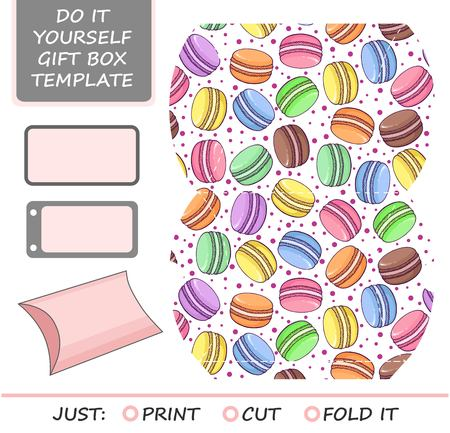 Favor, gift box die cut. Box template with macaron  pattern. Great for birthday or wedding gift packaging.