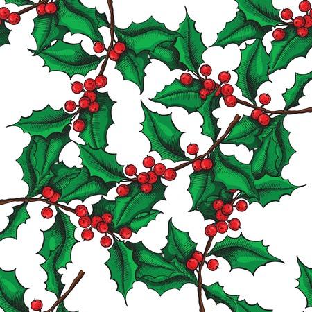 ベクターのシームレスな手には、ホリーのパターンが描画されます。クリスマス ヤドリギ ビンテージ イラスト。クリスマスと休日の装飾です。  イラスト・ベクター素材