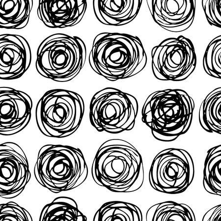 Vector sin patrón de círculo moderno y actual. Ilustración monocromática del doodle desordenado. Dibujado a mano patrón artística. Gran para web, impresión, decoración para el hogar, textiles, papel de envolver, papel pintado, tarjeta de invitación