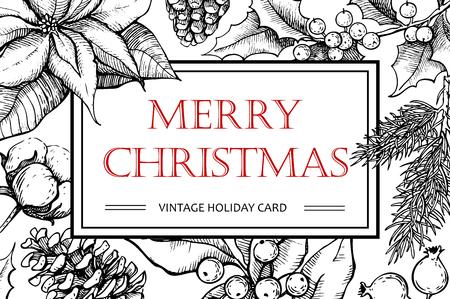 벡터 메리 크리스마스 손 크리스마스 디자인 빈티지 그린 그림. 인사 및 초대 카드, 배너, 엽서에 대 한 좋은