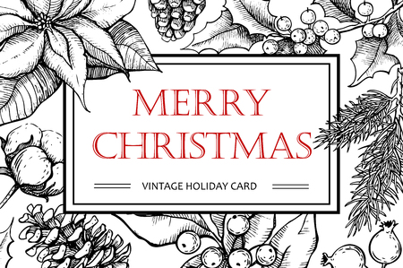 pine wreath: Vector Merry Christmas hand drawn vintage illustration for xmas design. Great for greeting and invitation cards, banners, postcards