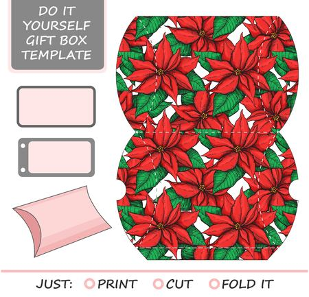 Favor, gift box die cut. Box template with poinsettia  pattern. Great for Christmas  gift packaging.