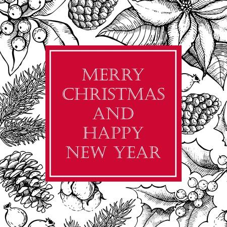 ベクター メリー クリスマスと幸せな新年休日のデザインの描かれたビンテージ イラストを手します。挨拶と招待状カード、バナー、はがきに最適