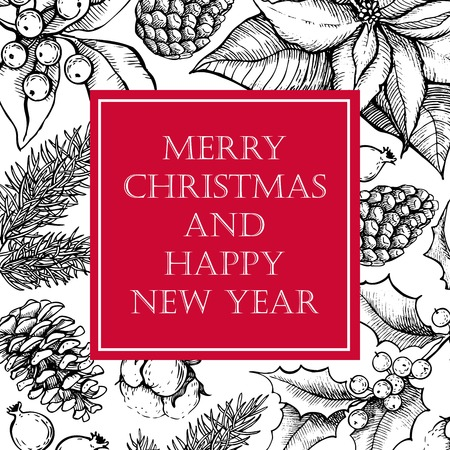 pine wreath: Vector Merry Christmas and Happy New Year hand drawn vintage illustration for holiday design. Great for greeting and invitation cards, banners, postcards