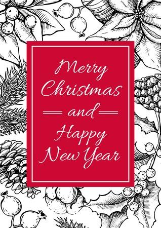 벡터 메리 크리스마스, 해피 뉴가 손 휴일 디자인에 대 한 빈티지 그린 그림. 인사 및 초대 카드, 배너, 엽서에 대 한 좋은