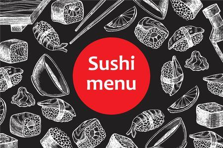 ベクトル ヴィンテージ黒板寿司レストラン メニュー イラスト。手描き下ろしバナー。メニューのバナー、チラシ、カードのために大きい、寿司ビ  イラスト・ベクター素材