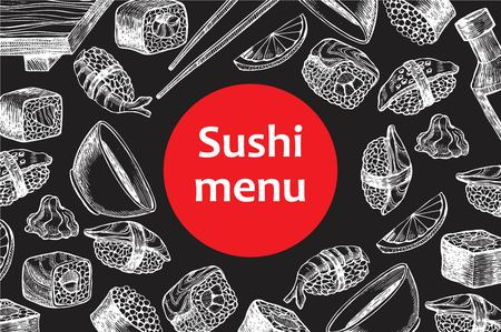 menu restaurant: Vector vintage chalkboard sushi restaurant menu illustration. Hand drawn banner. Great for menu, banner, flyer, card, sushi business promote.