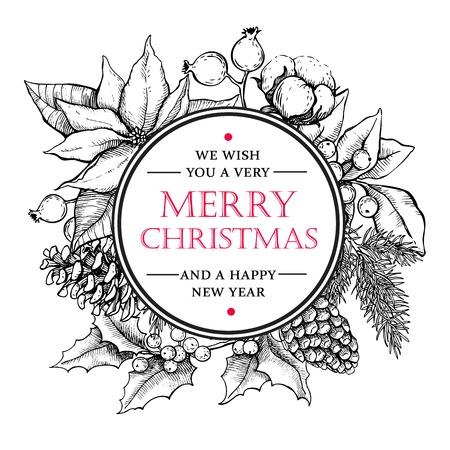 natale: Mano vettore Buon Natale e Felice Anno Nuovo disegnato illustrazione d'epoca. Ottimo per auguri e inviti da visita, striscioni, cartoline Vettoriali