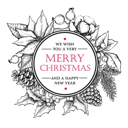 pine wreath: Vector Merry Christmas and Happy New Year hand drawn vintage illustration. Great for greeting and invitation cards, banners, postcards Illustration
