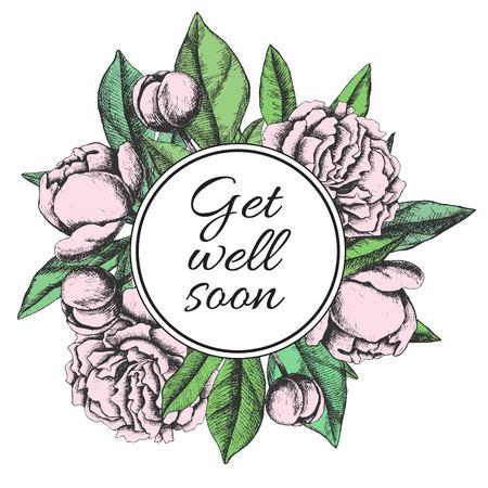 wellness background: Get well soon. Friendly vector vintage card with flower drawing