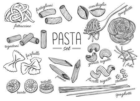 restaurante italiano: Vector dibujado a mano conjunto pasta. Ilustración línea de arte de época.