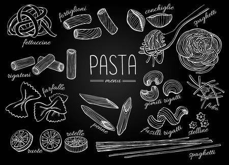 pizarron: Vector dibujado a mano menú pasta. Ilustración de arte de línea de la pizarra de la vendimia. Vectores