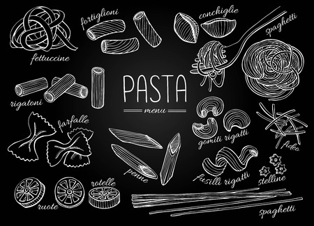 italian: Vector hand drawn pasta menu. Vintage chalkboard line art illustration. Illustration