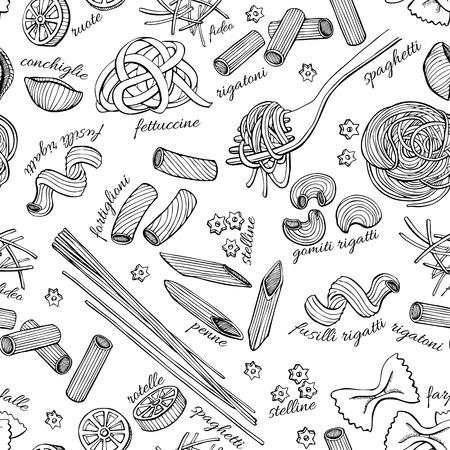 negocios comida: Vector dibujado a mano patrón de pasta. Ilustración línea de arte de época. Vectores