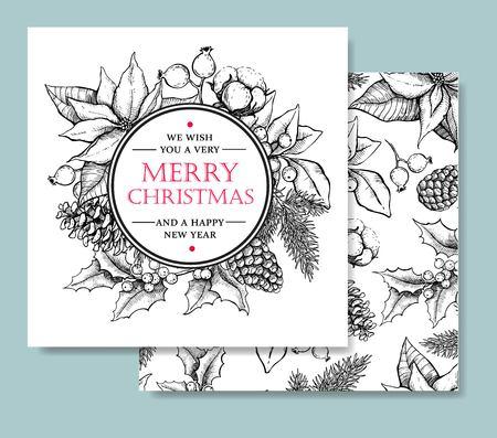 muerdago: Vector Feliz Navidad y Feliz Año Nuevo dibujado a mano plantilla de la tarjeta de la vendimia. Ideal para tarjetas de felicitación y invitaciones, banners, tarjetas postales