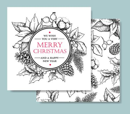 lijntekening: Vector Vrolijk Kerstfeest en Gelukkig Nieuwjaar hand getekend vintage kaart sjabloon. Geweldig voor groet en uitnodigingskaarten, banners, ansichtkaarten Stock Illustratie