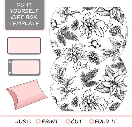 die cut: Favor, gift box die cut. Box template with winter floral pattern. For Christmas and New Year gift packaging. Illustration