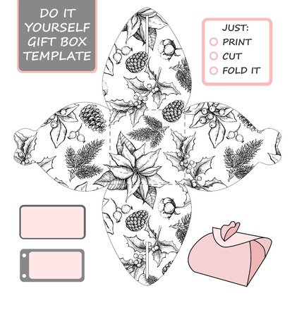 gift packaging: Favor, gift box die cut. Box template with winter floral pattern. For Christmas and New Year gift packaging. Illustration