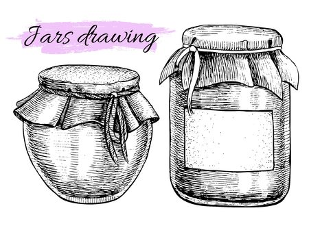 glass jar: Vector vintage jar set. Hand drawn illustrations. For Jam, honey and romantic decor.