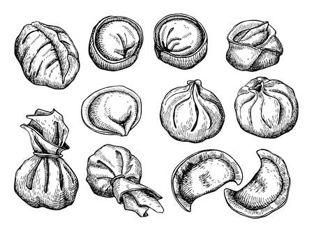 Vector set of dumplings. Vintage sketch illustration. Hand drawn