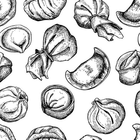 Vector dumplings pattern. Vintage sketch illustration. Hand drawn Ilustrace
