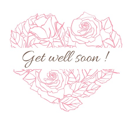 dessin fleur: Get well soon. Friendly vector vintage card with flower drawing.