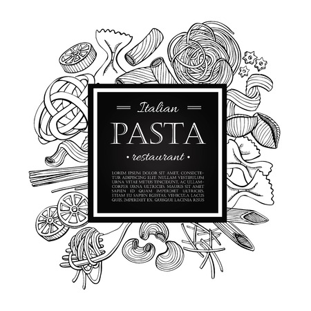 Vektör İtalyan makarna restoranı illüstrasyon. El afiş çizilmiş. menüsünden, afiş, el ilanı, kart iş için büyük teşvik. Çizim