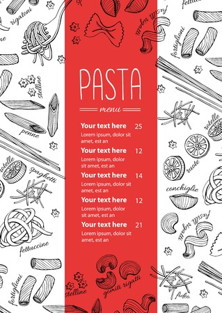 pasta: Vector hand drawn pasta menu. Vintage  line art illustration for your business