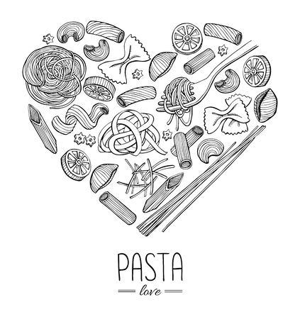 pastas: Vector vendimia italiano ilustraci�n restaurante de pasta en forma de coraz�n. Dibujado a mano la bandera. Gran para el men�, bandera, folleto, tarjeta, negocios promueven.