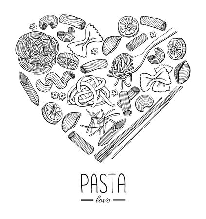 Vector vintage italian pasta restaurant illustration in heart shape. Hand drawn banner. Great for menu, banner, flyer, card, business promote.