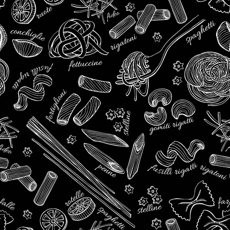 italian pasta: Vector hand drawn pasta pattern. Vintage line art illustration. Illustration