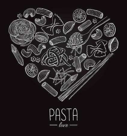 promote: Vector vintage italian pasta restaurant illustration in heart shape. Hand drawn banner. Great for menu, banner, flyer, card, business promote.