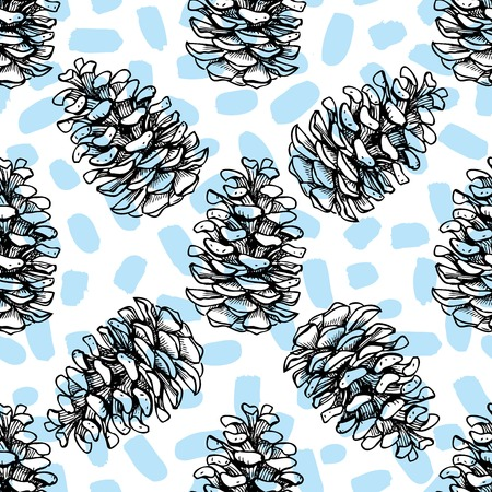 Vector seamless pine cone pattern. Hand drawn illustration  イラスト・ベクター素材