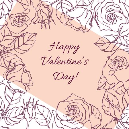 Happy Valentines Day Card With Hand Drawn Botanical Rose