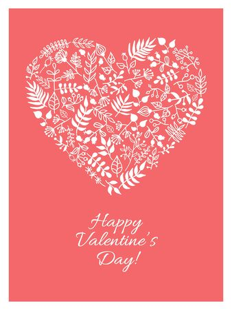 valentine day: Vector Valentine card with doodle floral illustration in heart shape. Hand drawn