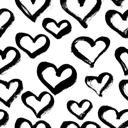 black textured background: Vector seamless modern heart pattern. Trendy ink hand drawn illustration. Great for valentine cards, backgrounds, wrapping paper.