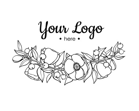 flowers on white: Vector hand drawn flower branch illustration. Illustration