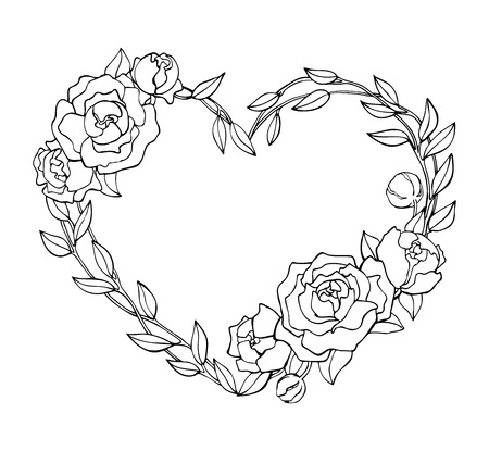 hand outline: Vector hand drawn rose wreath in heart shape illustration. Great for logo, company branding, greeting, wedding and valentine cards