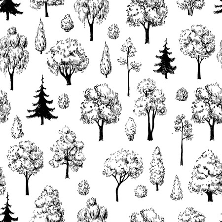 drawing trees: Seamless hand drawn tree sketches pattern. Artistic drawing.
